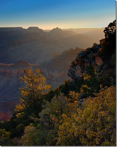 Sunrise on Vishnu Temple from Yaki Point